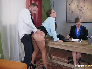 Abigail Mac pounding her new boss at the date to get the project