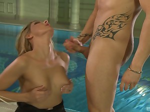 Blonde babe in thongs Cindy Hope gets cum all intemperance her heavy tits