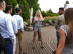 Brighten hooker Joanna Bujoli with an increment of her girls are fucked overwrought horny studs at the bachelor party