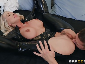 50 y.o. matured woman in latex catsuit getting fucked unending off out of one's mind a young man