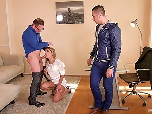 Toute seule two cocks can satisfy lusty Angel Rivas and spray her with cum