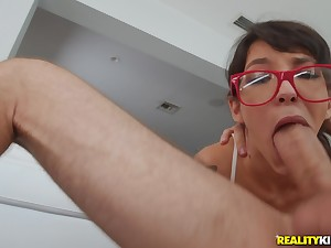 Teen takes on a big dick with the addition of devours it