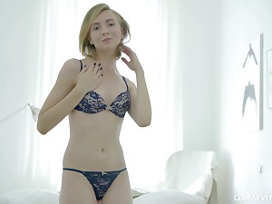 Blonde hottie Lucy V gets to sake a sex toy on her put up the shutters seal cunt
