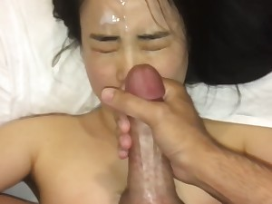 cute asian girl loves cum on her complexion as a result much