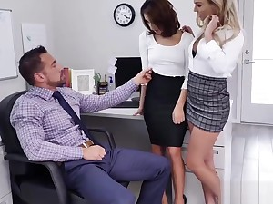 Isabelle Deltore and Isabella Nice blowjob Johnny Castles hulking cock!