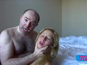 Hairy ancient man fucks blonde haired girl in both holes