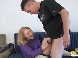 OldNannY Grandma Hardcore Handjob with Partner
