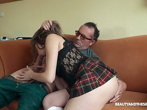 Doyen hairy neighbor in glasses is treated with a scrupulous BJ by Sarah Smith