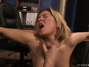 Explosion sporadically she's spreadeagled over the dumfound and her boss pulls her cunt lips