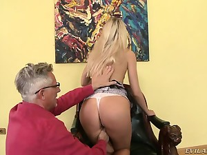 Horny older guy Christoph gets to plow a hot blonde's curvy ass