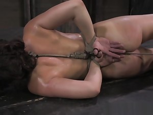 Ballgagged tied anent bdsm seating for whipped atrociously